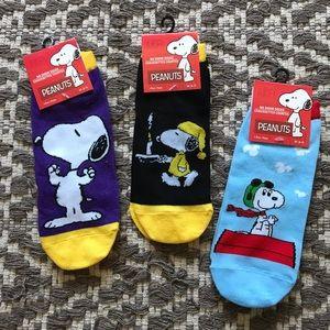 3pc! NWT PEANUTS comic snoopy cartoon ankle socks